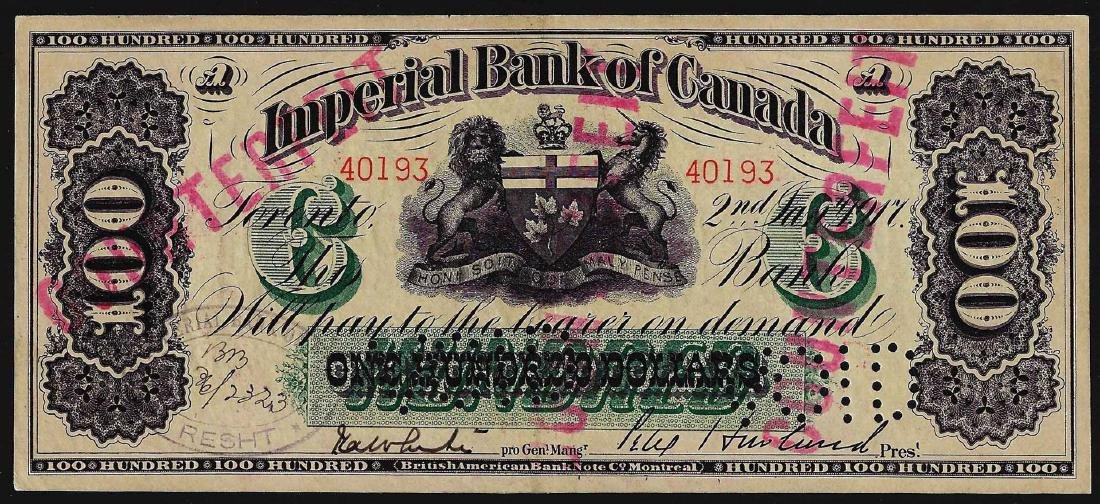 1917 $100 Imperial Bank of Canada British American Bank