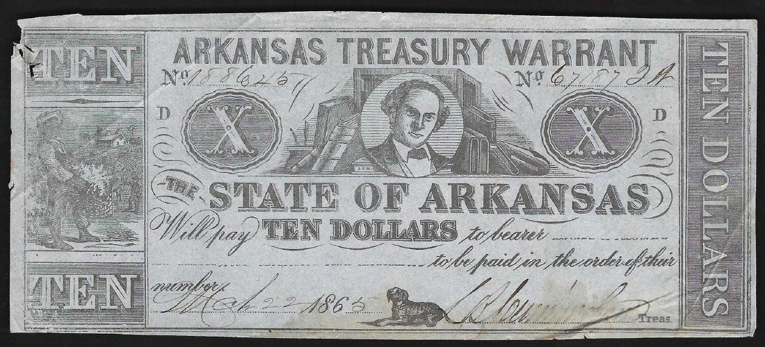 1862 $10 State of Arkansas Treasury Warrant Note