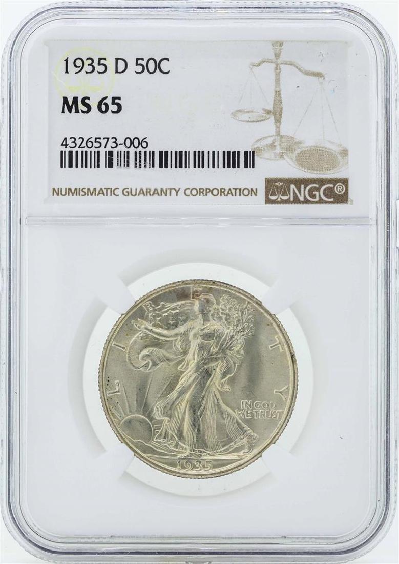 1935-D Walking Liberty Half Dollar Coin NGC MS65
