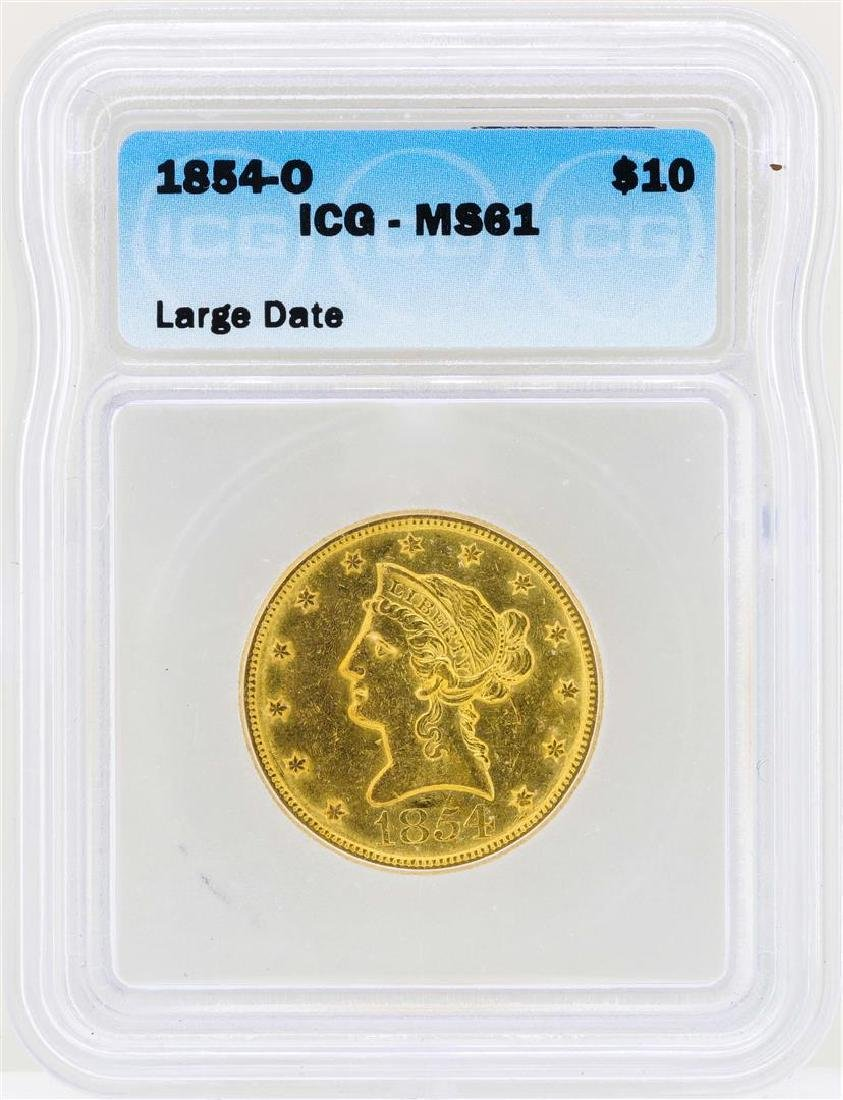1854-O $10 Large Date Liberty Head Eagle Gold Coin ICG