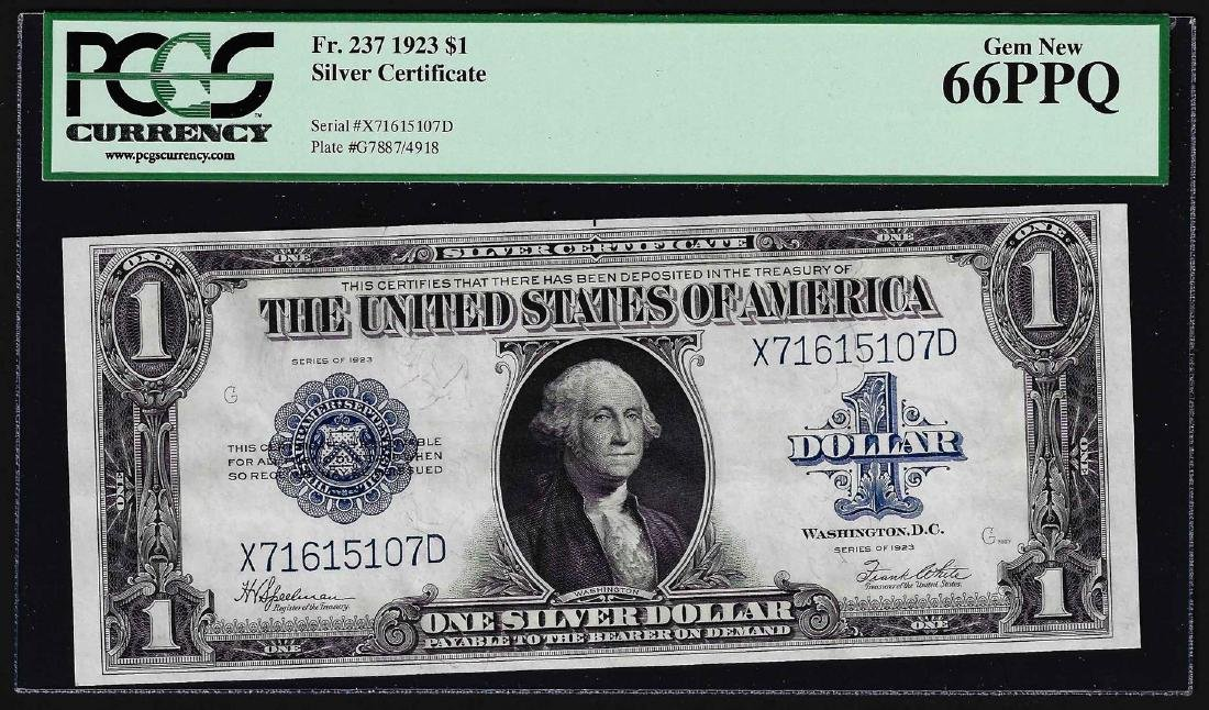 1923 $1 Silver Certificate Note Fr.237 PCGS Gem New