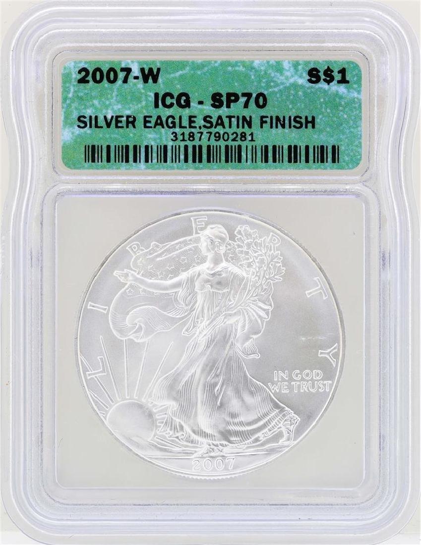 2007-W $1 American Silver Eagle Coin ICG SP70 Satin