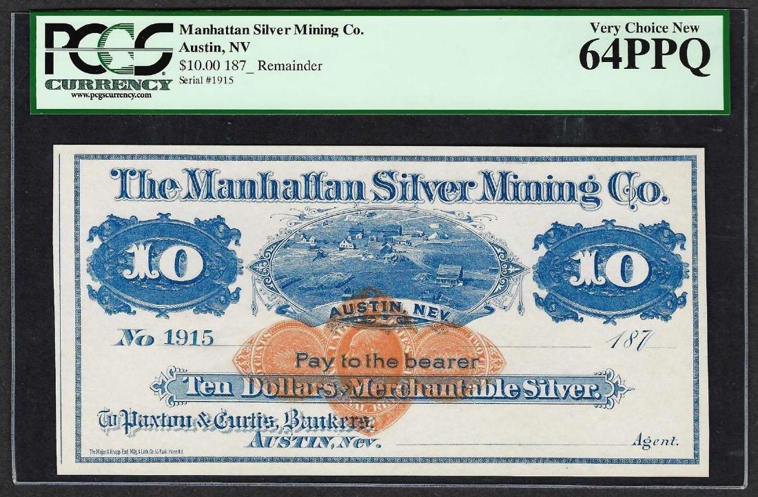 1870's $10 Manhattan Silver Mining Co. Obsolete Note