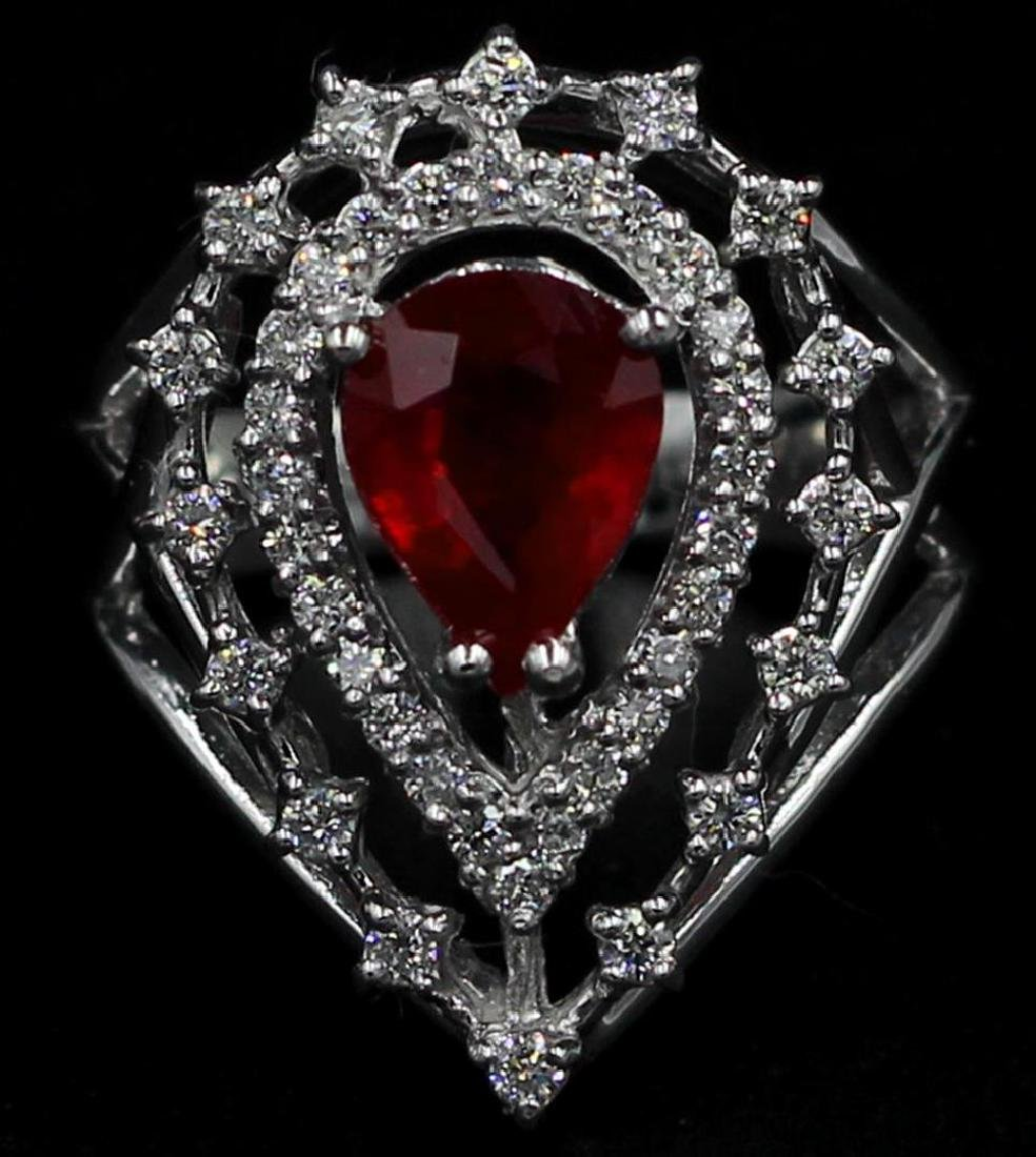 14KT White Gold 2.94 ctw Pear Cut Ruby and Diamond Ring