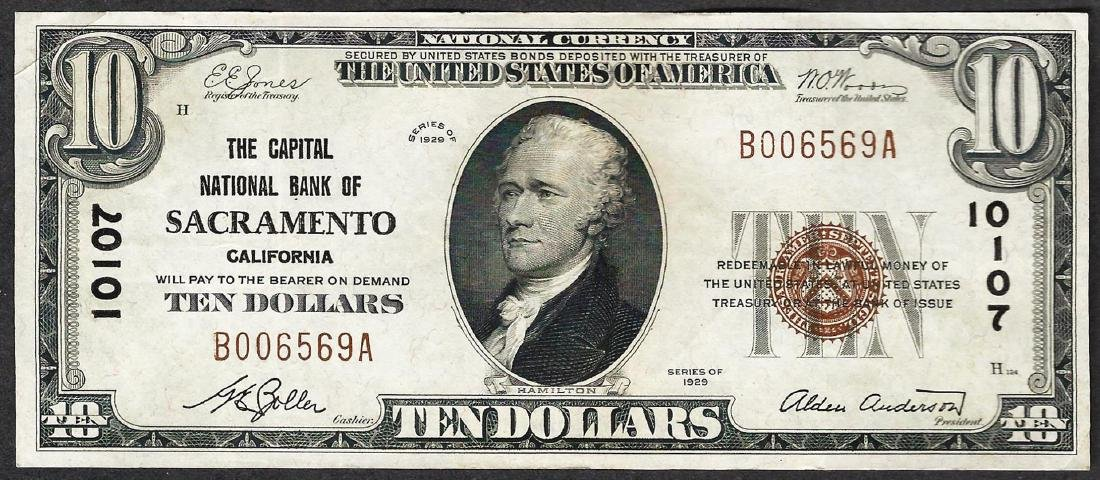 1929 $10 The Capital National Bank of Sacramento
