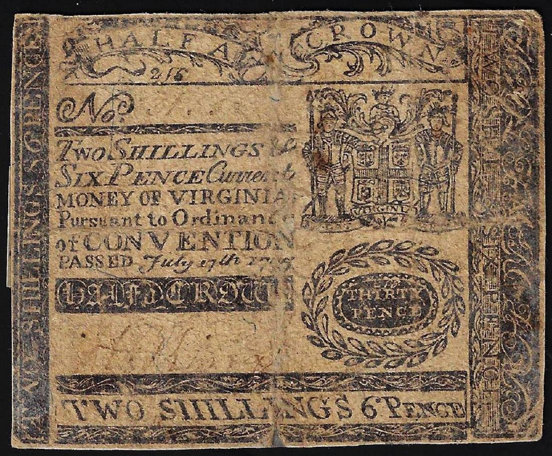 July 17th, 1775 Virginia Two Shillings 6 Pence Colonial