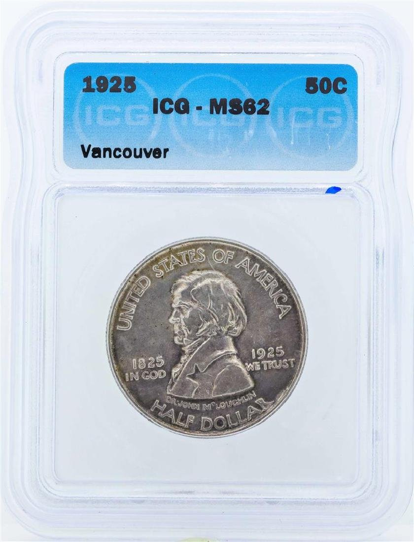 1925 Vancouver Commemorative Half Dollar Coin ICG MS62