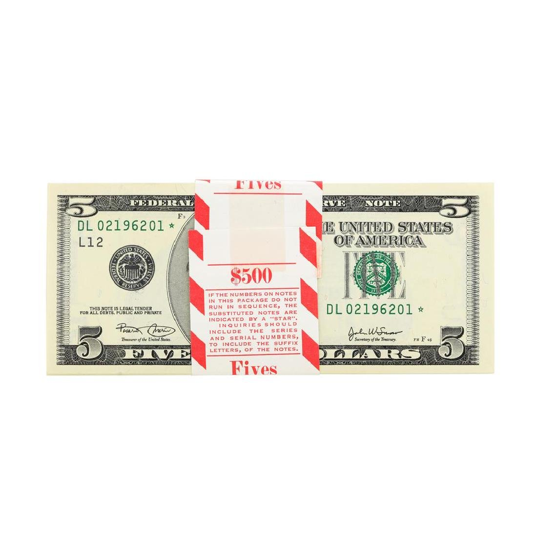Pack of (100) Consecutive 2009 $5 Federal Reserve STAR