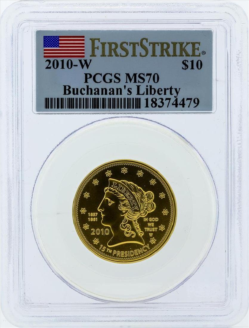 2010-W $10 Buchanans Liberty Commemorative Gold Coin