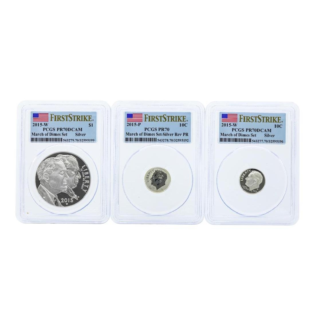 Set of (3) Coin 2015 March of Dimes Set PCGS PR70 First