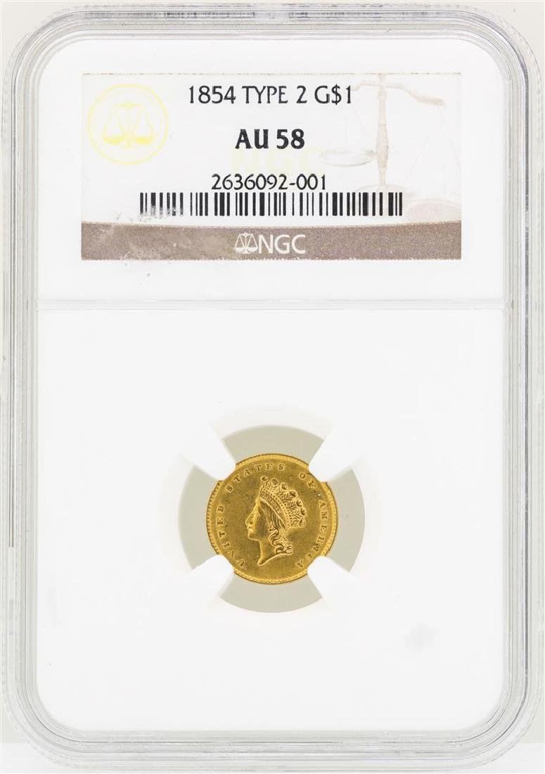 1854 $1 Indian Princess Head Gold Dollar Coin Type 2