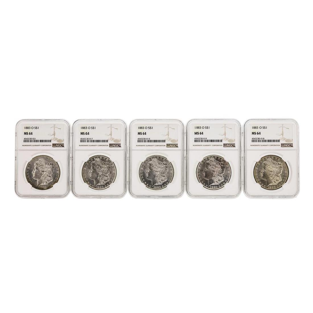 Lot of (5) 1883-O $1 Morgan Silver Dollar Coins NGC