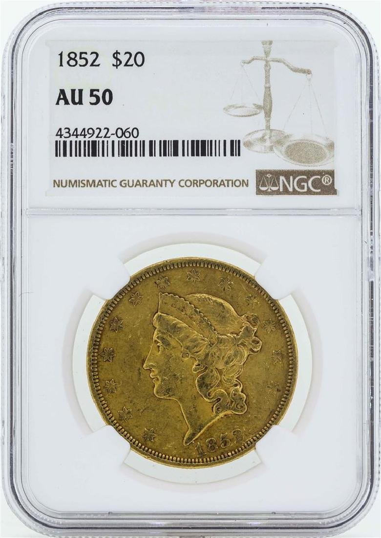 1852 $20 Liberty Head Double Eagle Gold Coin NGC AU50