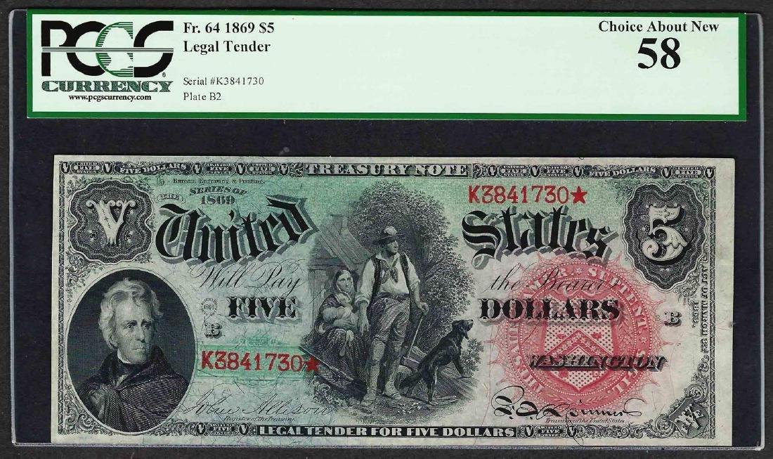 1869 $5 Rainbow Woodchopper Legal Tender Note Fr.64