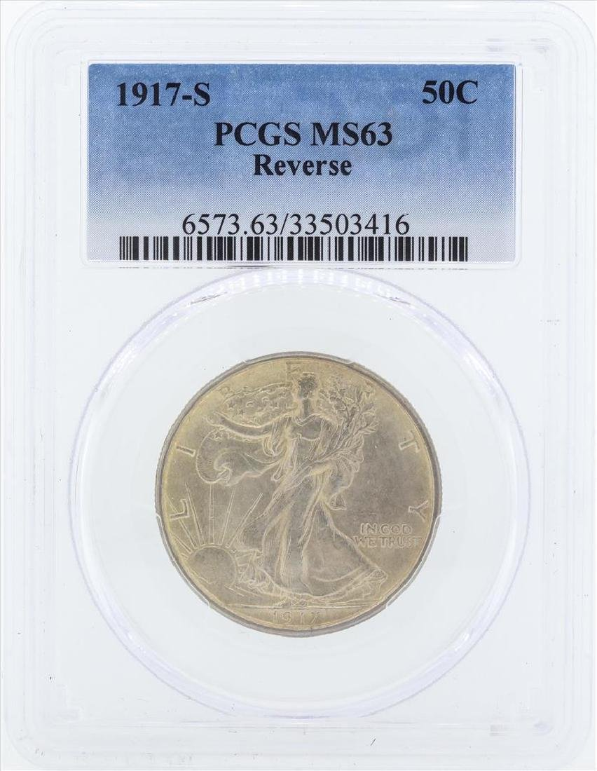 1917-S Walking Liberty Half Dollar Coin PCGS MS63