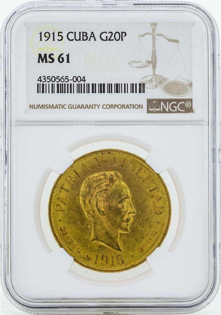 1915 Cuba 20 Pesos Gold Coin NGC MS61