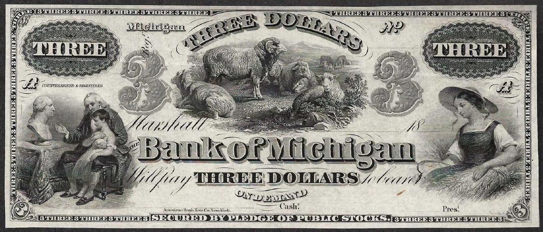 1800's $3 The Bank of Michigan Obsolete Note