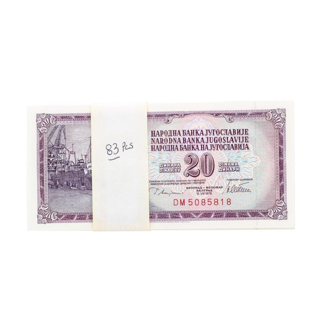 Lot of (83) Consecutive 1978 20 Dinara Yugoslavia