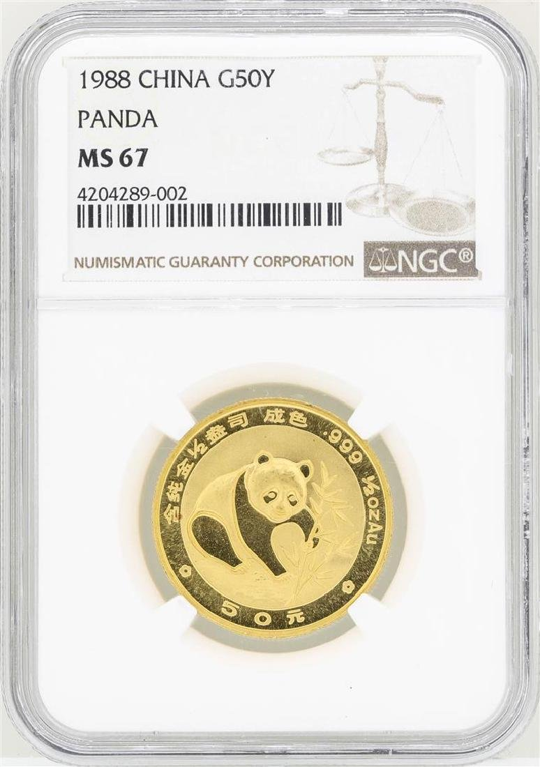 1988 China 50 Yuan Gold Panda Coin NGC MS67