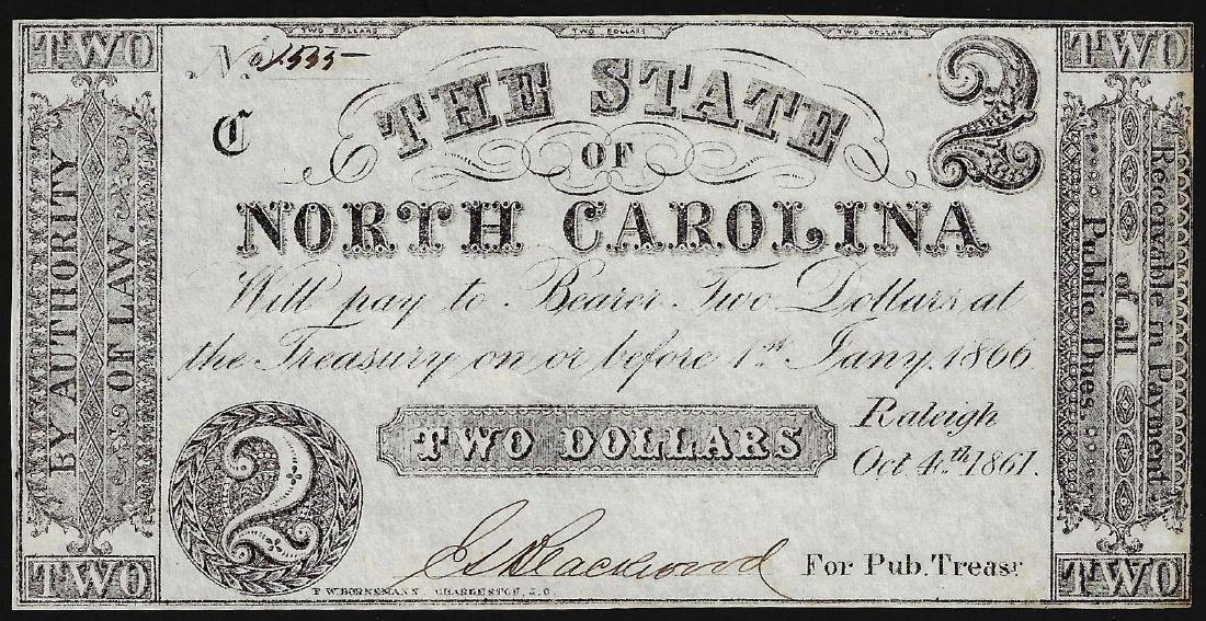 1866 $2 State of North Carolina Obsolete Note