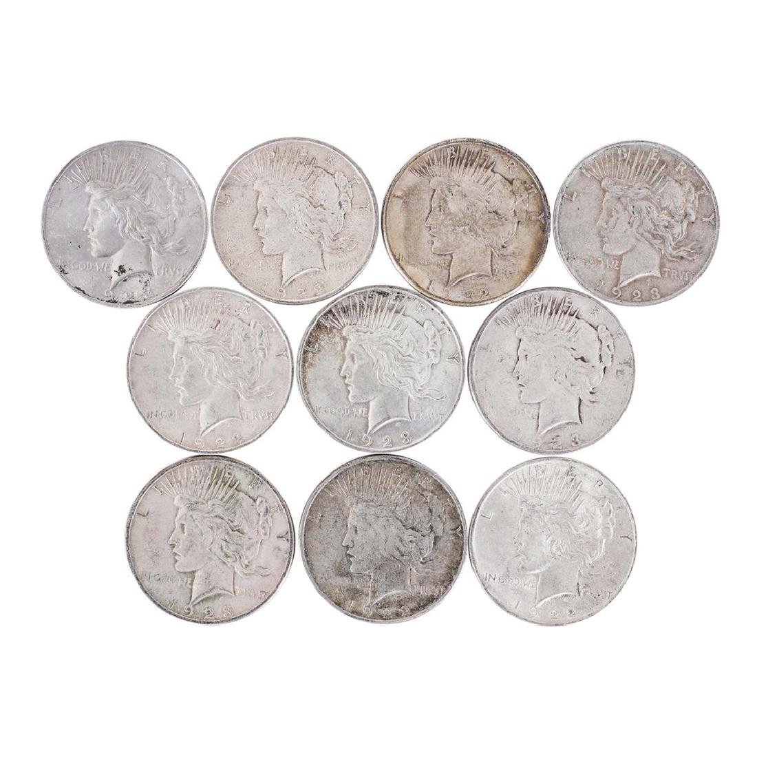 Lot of (10) $1 Peace Silver Dollar Coins