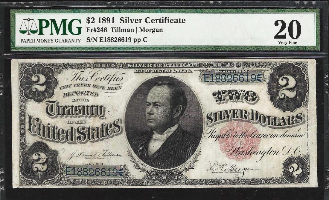 1891 $2 Silver Certificate Note Fr.246 PMG Very Fine 20