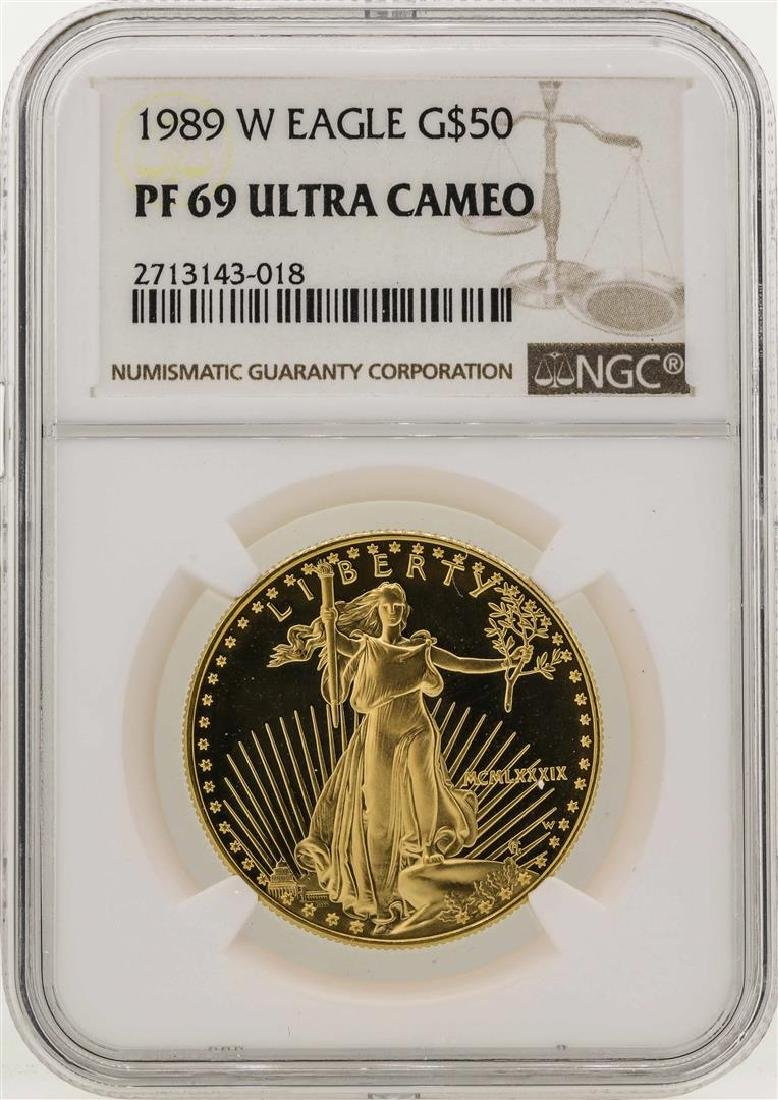 1989-W $50 American Gold Eagle Coin NGC PF69 Ultra