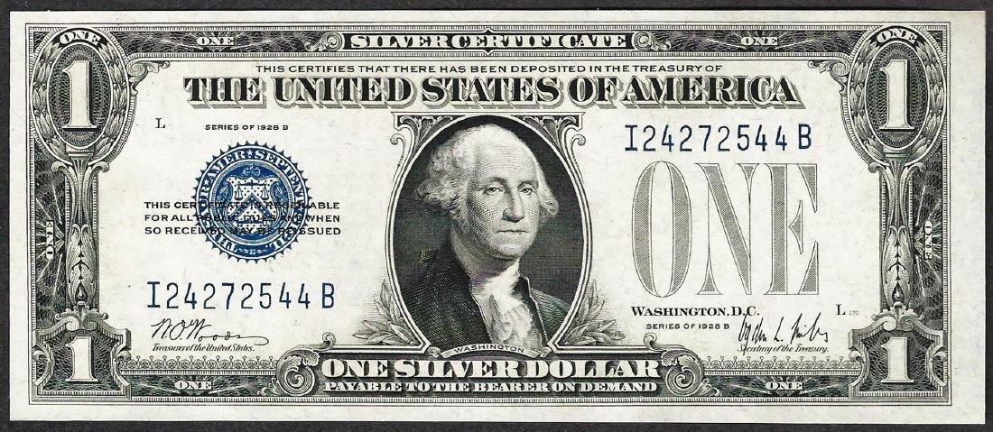 1928B $1 Funnyback Silver Certificate Note