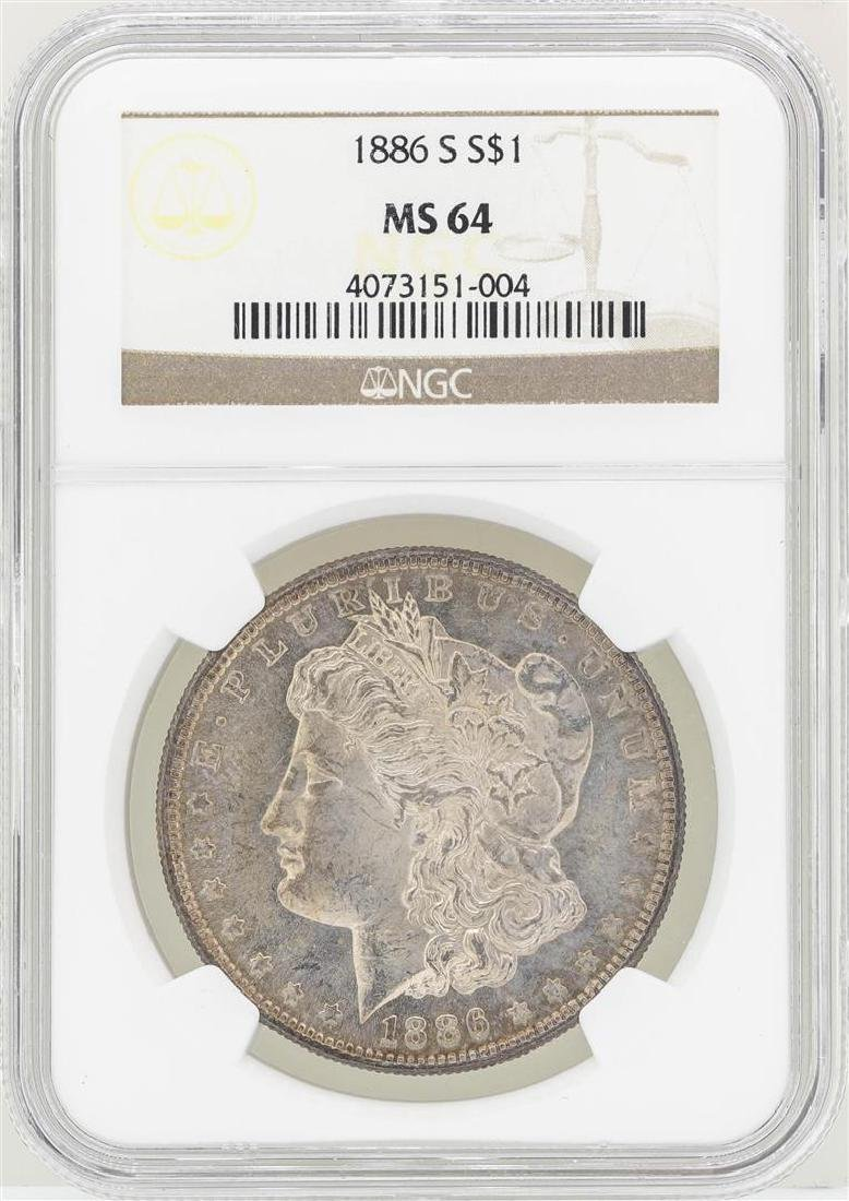 1886-S $1 Morgan Silver Dollar Coin NGC MS64