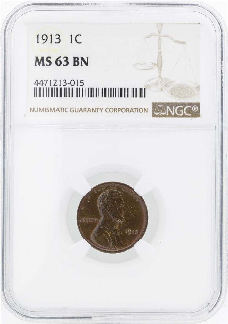 1913 Lincoln Wheat Penny Coin NGC MS63BN