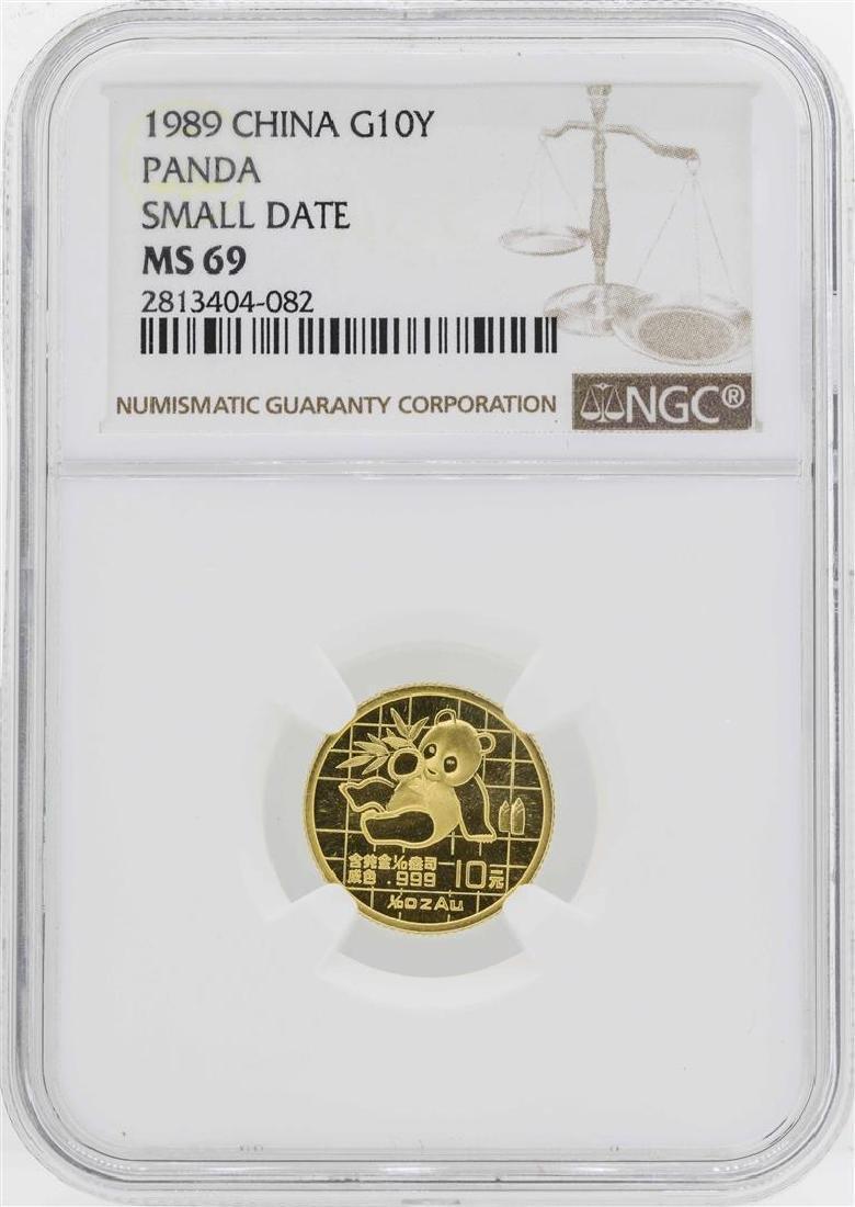 1989 China 10 Yuan 1/10 Oz. Gold Panda Coin NGC MS69