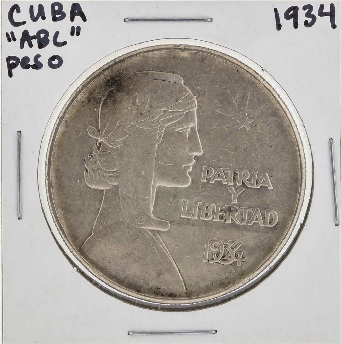"""1934 Cuba """"ABC"""" Peso Libertad Silver Coin"""