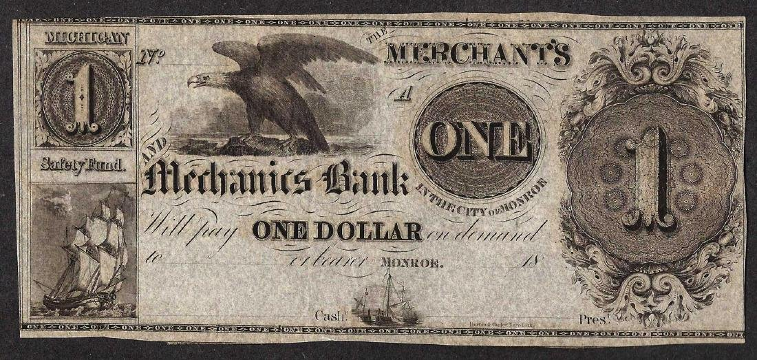 1800's $1 The Merchant's and Mechanics Bank Obsolete