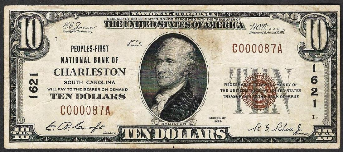 1929 $10 Peoples-First National Bank of Charleston
