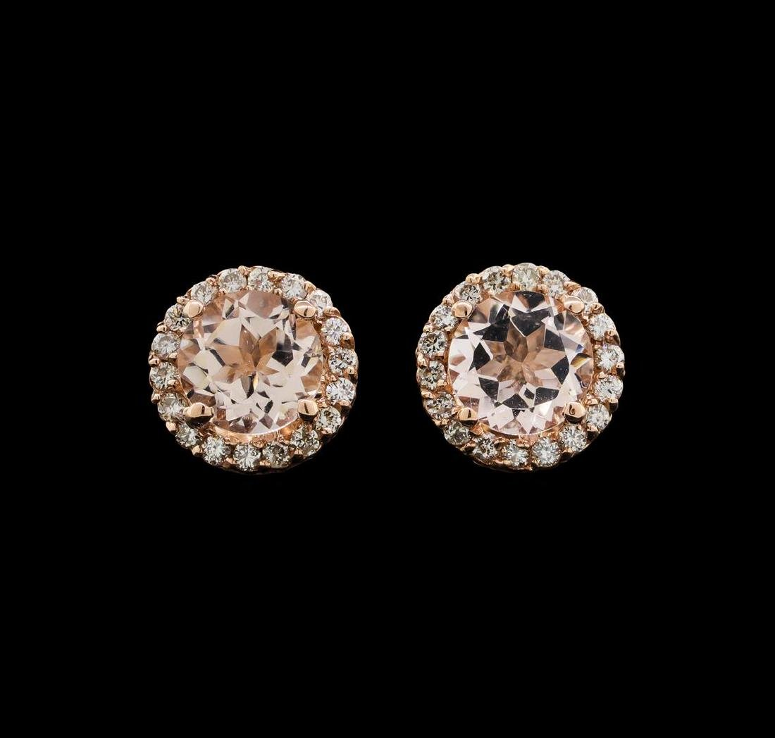 14KT Rose Gold 1.54 ctw Morganite and Diamond Earrings