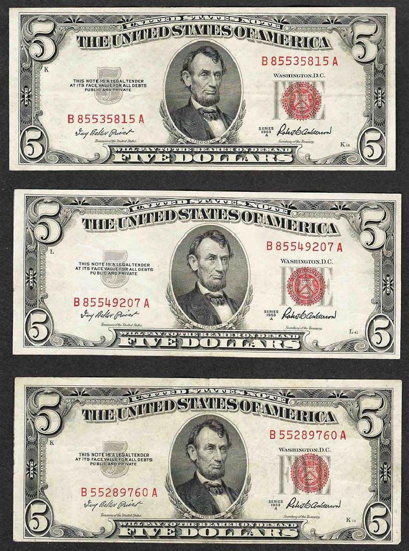 Lot of (3) 1953A $5 Legal Tender Notes