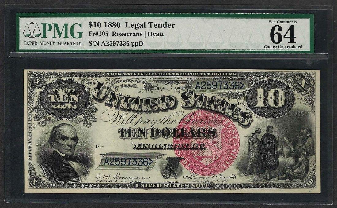 1880 $10 Jackass Legal Tender Note Fr.105 PMG Choice