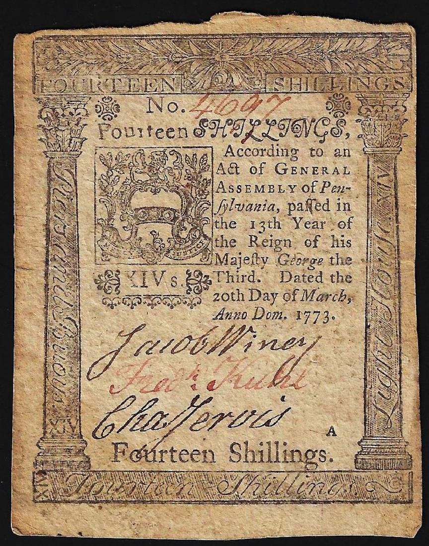 March 20, 1773 Pennsylvania 14 Shillings Colonial