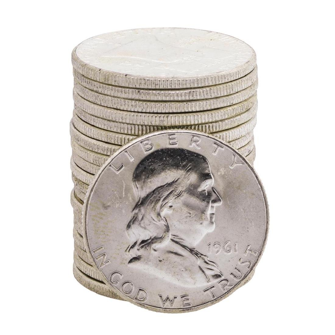 Roll of (20) 1961 Brilliant Uncirculated Franklin Half