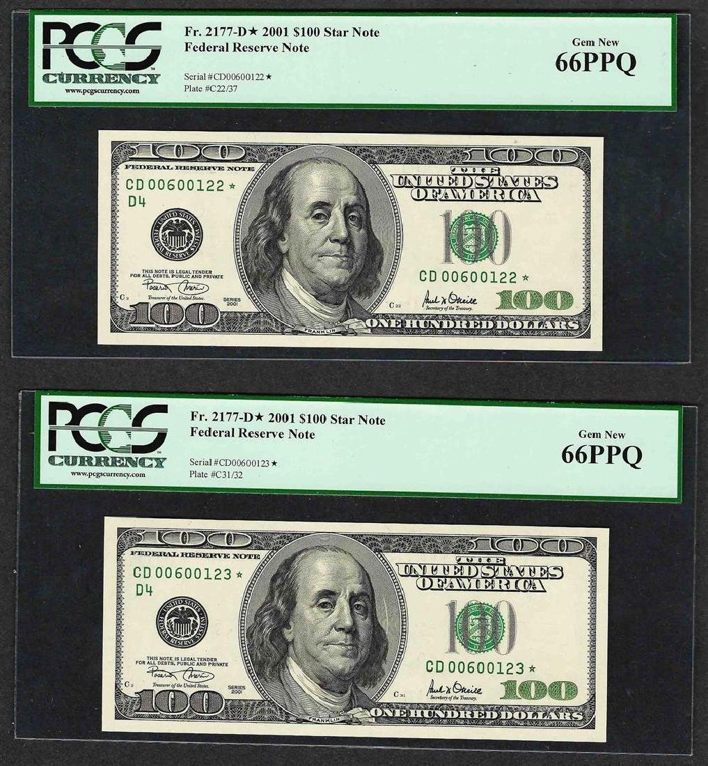 Lot of (2) 2001 $100 Federal Reserve STAR Note PCGS Gem