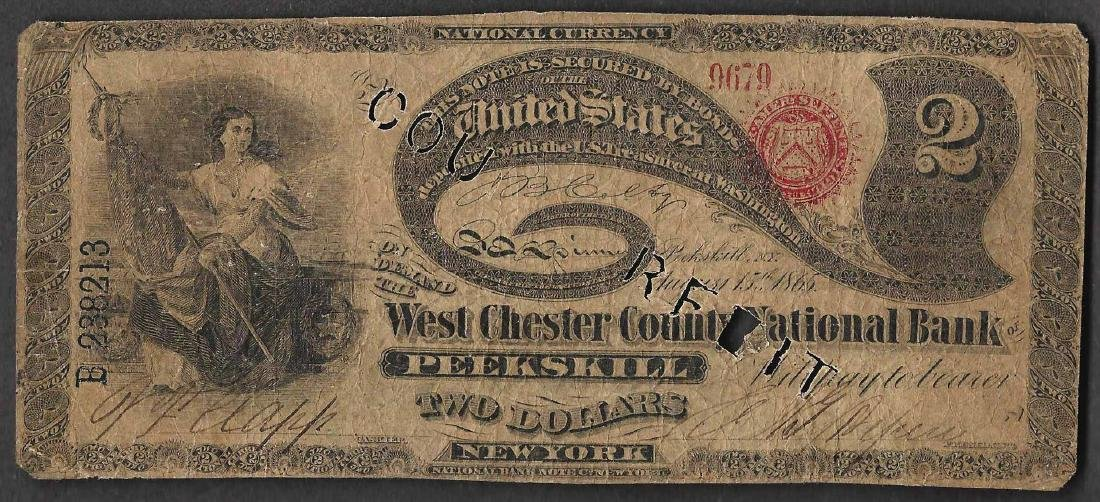Contemporary Counterfeit 1865 $2 Lazy Deuce West