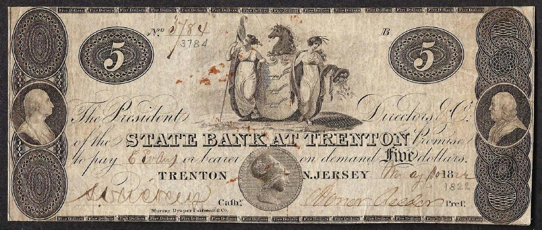 1822 $5 The State Bank at Trenton Obsolete Note