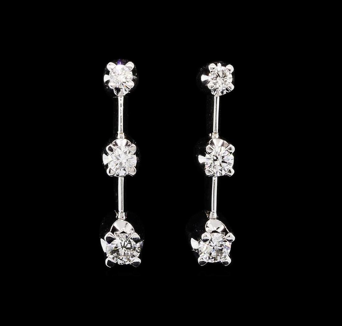 14KT White Gold 0.50 ctw Diamond Dangle Earrings