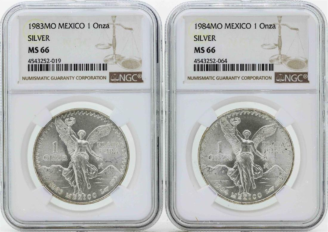 Set of 1983MO-1984MO Mexico 1 Onza Silver Libertad
