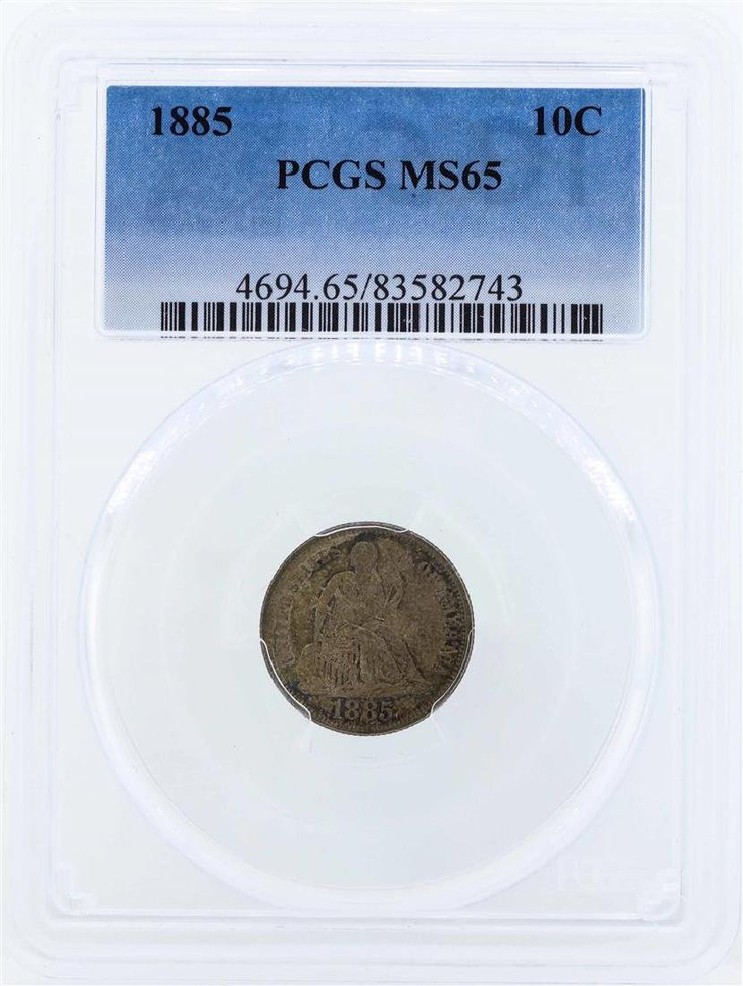1885 Seated Liberty Dime Coin PCGS MS65