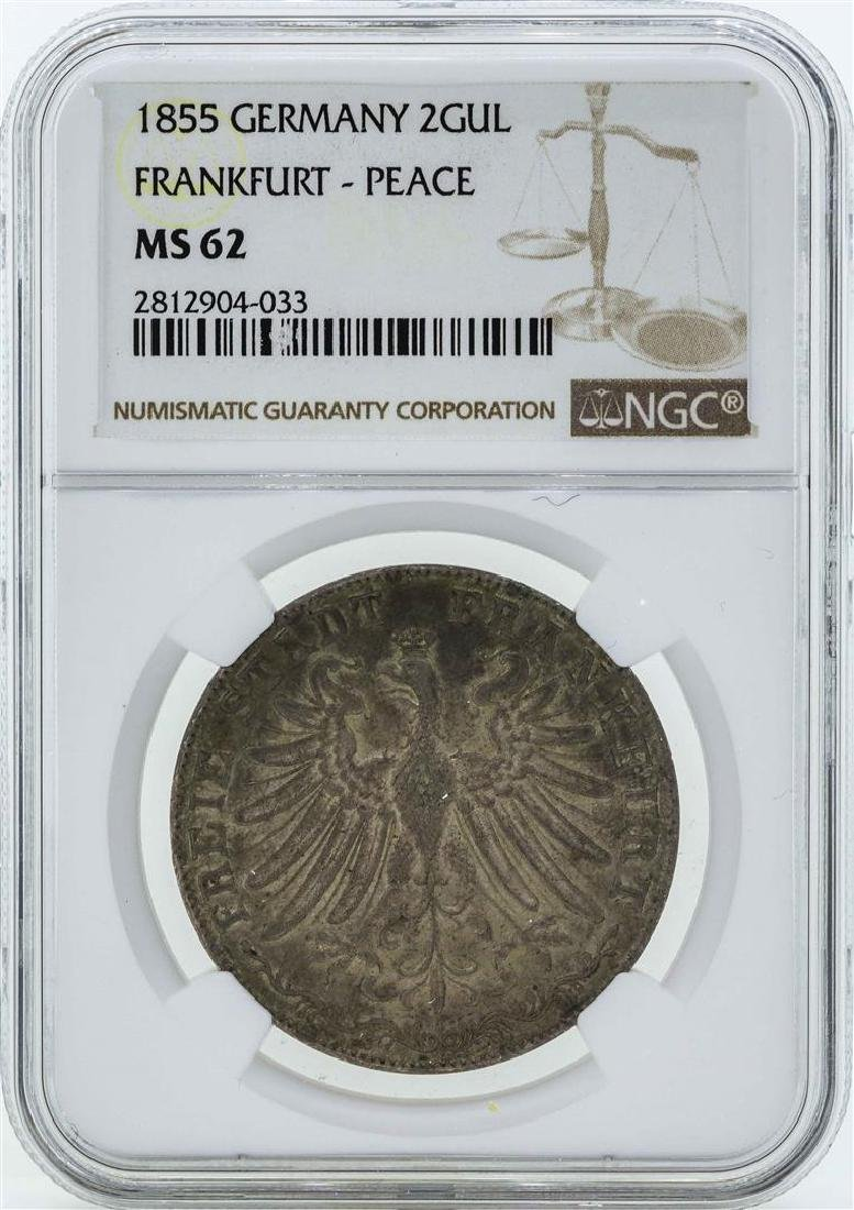 1855 Germany 2 Gulden Coin NGC MS62