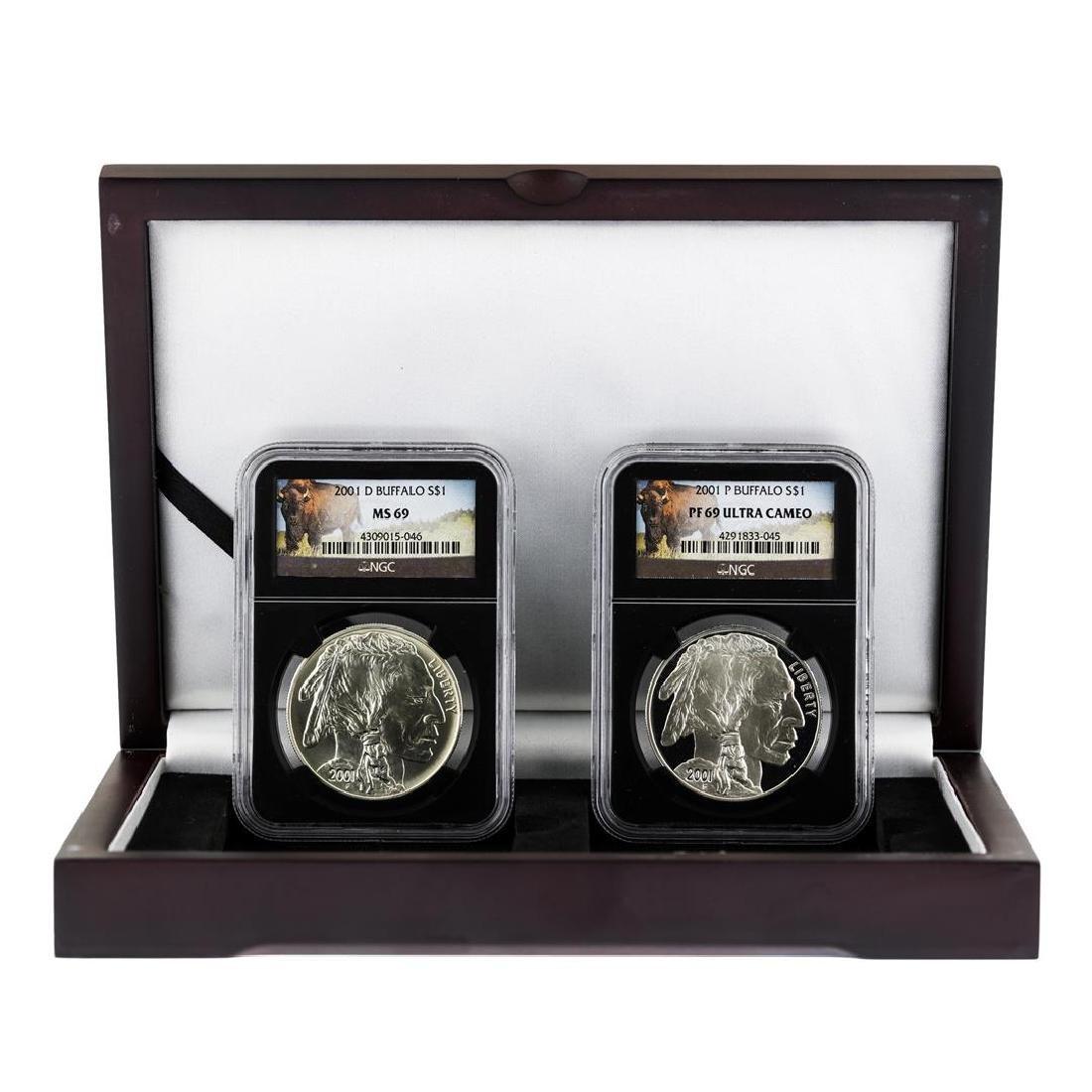 Set of 2001P & D $1 American Buffalo Silver Coins NGC