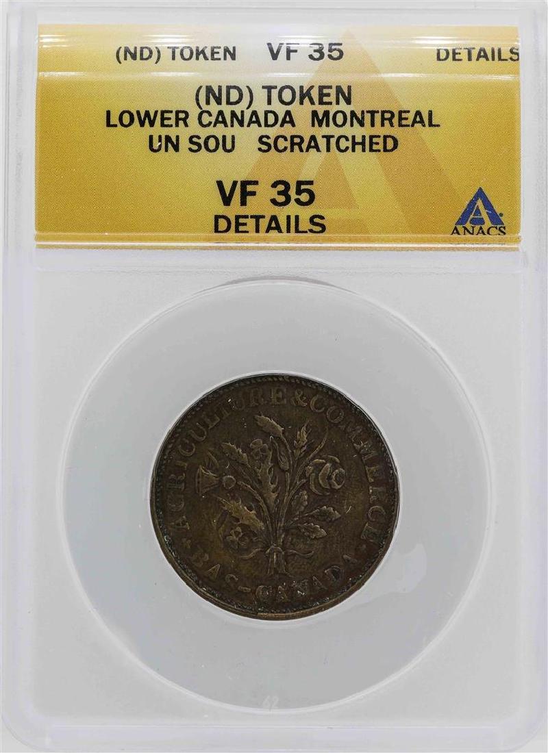 Lower Canada Montreal Un Sou Token ANACS VF35 Details