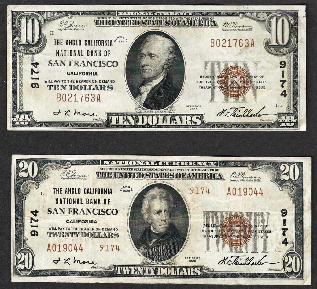 Lot of 1929 $10 & $20 San Francisco California National
