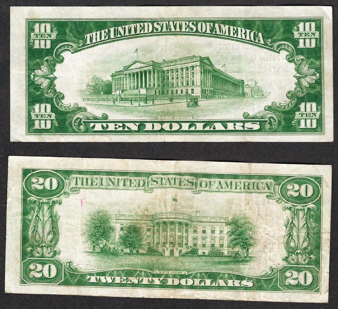Lot of 1929 $10 & $20 San Francisco California National - 2